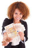 Young african american business woman holding euro Royalty Free Stock Images