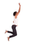 Young african american business woman jumping, success concept Royalty Free Stock Photos