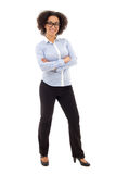Young african american business woman posing isolated on white Stock Photo