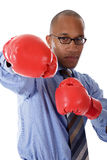 Young African American businessman, boxing gloves Stock Photography