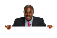 Young African American Businessman with sign Stock Image