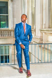 Young African American Businessman taking work break outside off Stock Photography