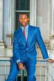 Young African American Businessman thinking outside office in Ne Stock Images