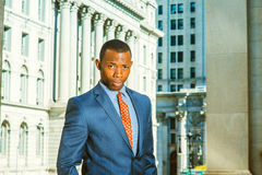 Young African American Businessman thinking outside office in Ne Royalty Free Stock Photography