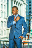 Young African American Businessman thinking outsider office in N Royalty Free Stock Photography
