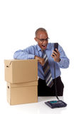 Young African American businessman, yelling Stock Photo