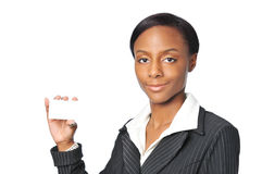 Young African American Businesswoman. Holding blank card Royalty Free Stock Image