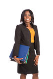 Young African American Businesswoman Holding Folders Isolated Royalty Free Stock Image