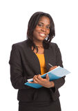 Young African American Businesswoman Holding Folders Isolated Stock Image