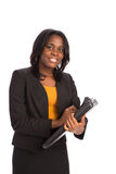 Young African American Businesswoman Holding Folders Isolated Royalty Free Stock Images