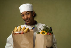 Young African American Chef with Groceries Royalty Free Stock Photography