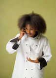 Young African American Chef Talking on Cellphone Stock Photography