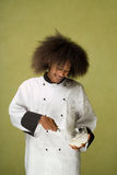 Young African American Chef Whisking Cream Royalty Free Stock Images