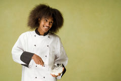 Young African American Chef Whisking Cream Stock Images
