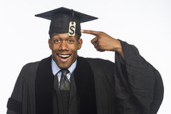 Young African American college graduate with tuition debt price tag, horizontal Stock Photo
