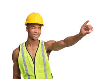 Young African American Construction Worker Isolated Stock Photos