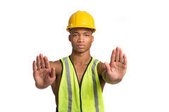 Young African American Construction Worker Isolated Stock Photography