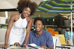 Young African American couple buying Outdoor furniture at Store Stock Image
