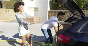 Young African American couple moving home stock video