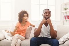 Young black couple quarreling at home Royalty Free Stock Image