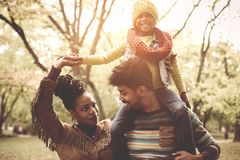 Young African American family in park together. stock images