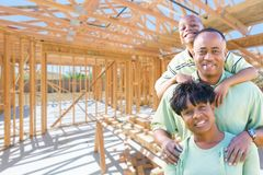 Young African American Family On Site Inside Their New Home Cons stock photography