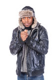 Young African-American feeling cold Royalty Free Stock Photography