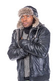 Young African-American feeling cold Royalty Free Stock Photos