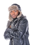 Young African-American feeling cold Royalty Free Stock Image