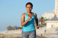 Young african american female enjoying run outdoors Royalty Free Stock Photo
