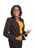 Young African American Female Holding a Touch Pad Tablet PC Stock Photo