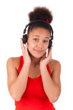 Young african american girl listening music Royalty Free Stock Image