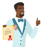 Young african-american groom holding a certificate Stock Image