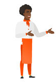 Young african-american happy chef cook gesturing. African-american chef cook in uniform gesturing. Full length of chef cook gesturing with his hands. Chef cook Stock Photography