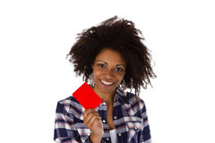 Young african american holding red card Stock Photo