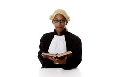 Young African American judge man, book Stock Images
