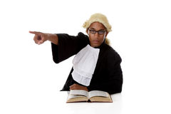 Young African American judge man, pointing Royalty Free Stock Image