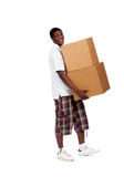 Young African-American male carrying boxes Royalty Free Stock Image