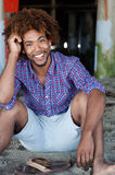 Young African American man at the beach Stock Images