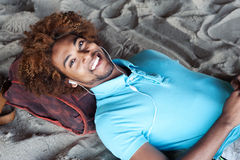 Young African American man at the beach Stock Photo