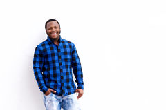 Young african american man in blue shirt smiling Royalty Free Stock Photography