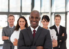 Young African American Man Business leading a team Stock Images