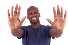 Young African American man his hands palm Royalty Free Stock Photo
