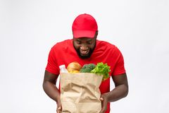 Young african american man holding grocery package in hands with shocking face. Isolated over Grey background. Young african american man holding grocery stock image