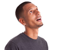 Young african american man looking up Stock Photos