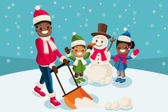 Black Man Removing Snow Vector Illustration Royalty Free Stock Photography