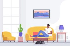 Young african american man resting and relaxing in home lying on comfortable couch in living room using laptop, enjoying. Leisure time alone, procrastination royalty free illustration