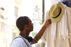 Young african american man shopping for clothes Royalty Free Stock Photography