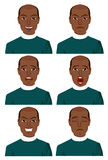 Young african american man with six different expressions Royalty Free Stock Photo