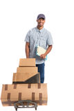 Young African American Man Smiling Delivery Boxe Stock Photos